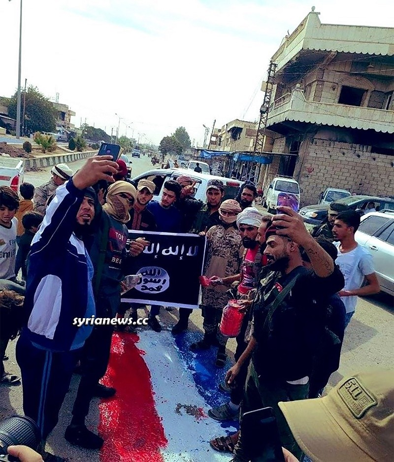 ISIS terrorists and flags re-emerge in Ras Al Ain north Syria under Erdogan protection