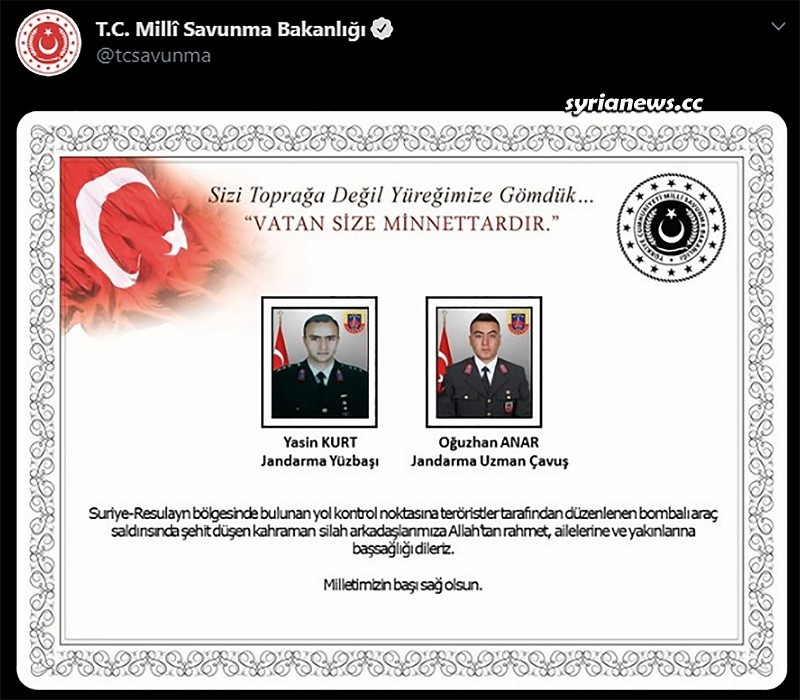 Turkish military mourn the death of its soldiers in Ras Al Ain