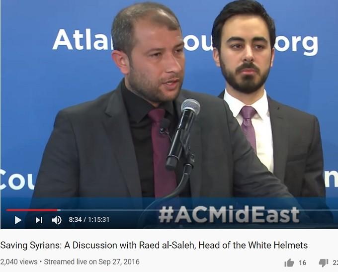 Quadruple dipping & Gobbels propaganda: AC tax funded, as are Helmets, fake head Raed Saleh (& translator) -- always ready for a false flag.