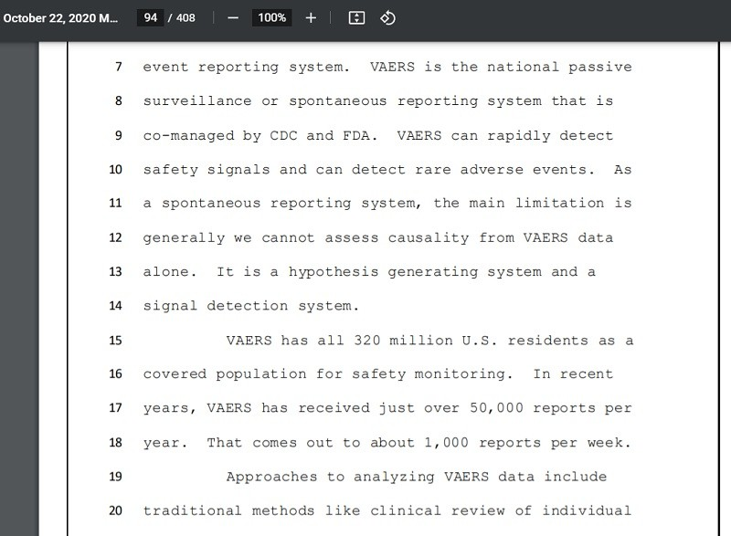 Importance of VAERS noted during FDA meeting pre-EUA's.