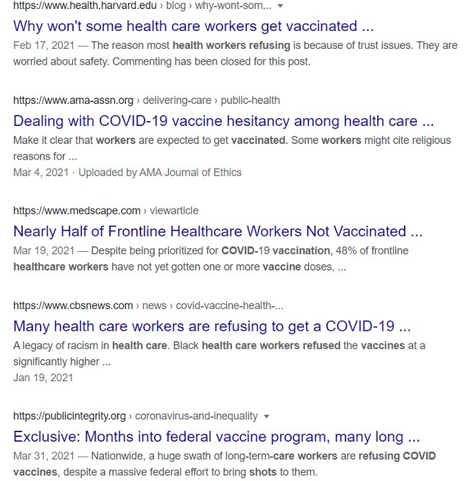 VAERS deaths increase and media obsessed with not all healthcare workers on board.