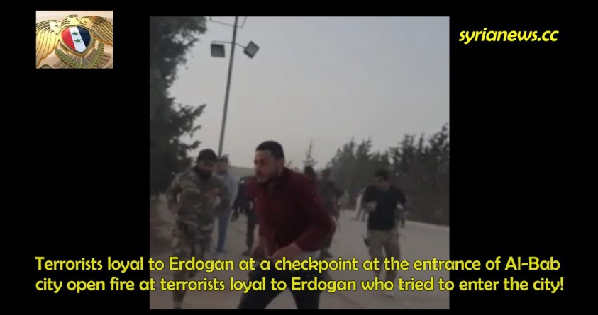 Erdogan Terrorists Shooting at other Erdogan Terrorists in Al-Bab Northern Syria
