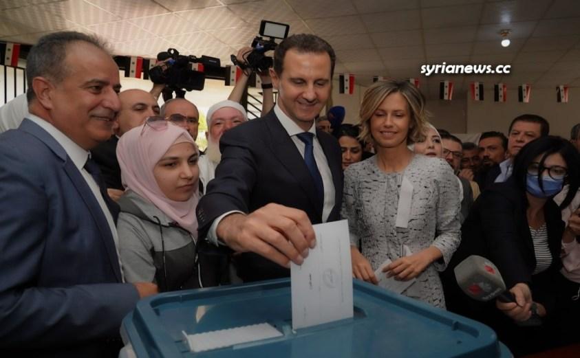 President Bashar Assad and First Lady Asmaa Cast their Votes in Douma