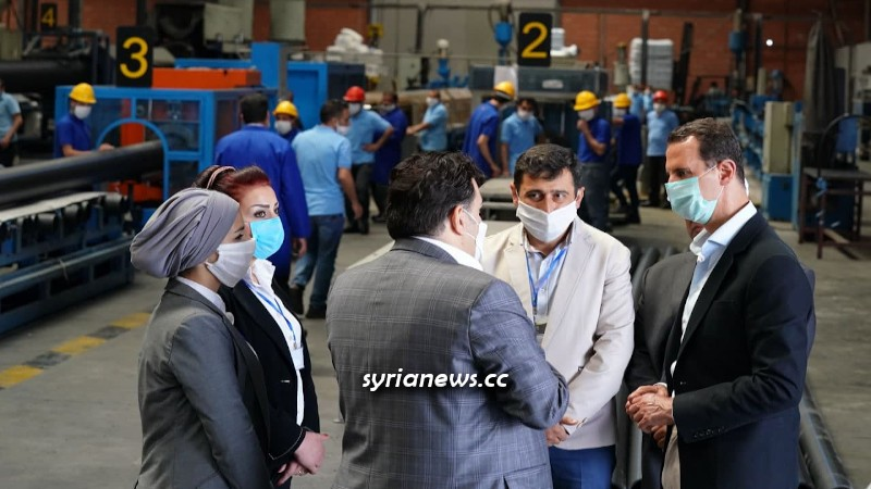 Syria President Assad in Hassia Industrial City - 03 May 2021
