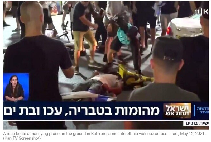 Bat Yam, not Gaza, but Guterres didn't speak of being utterly appalled by the rabid mob