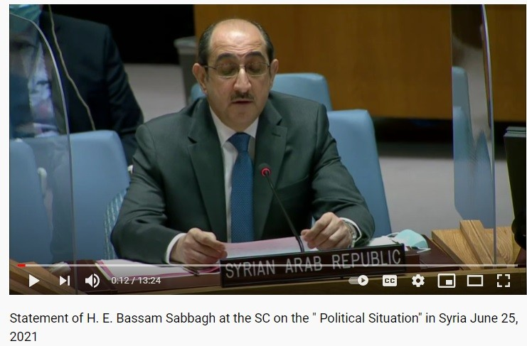 Ambassador Sabbagh condemned support for terrorists against his country.