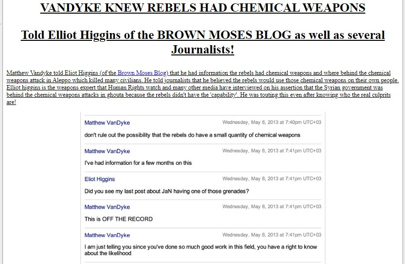 NATO illegal in Syria told NATO operative in UK that 'rebels' ready for a false flag chemical attack.
