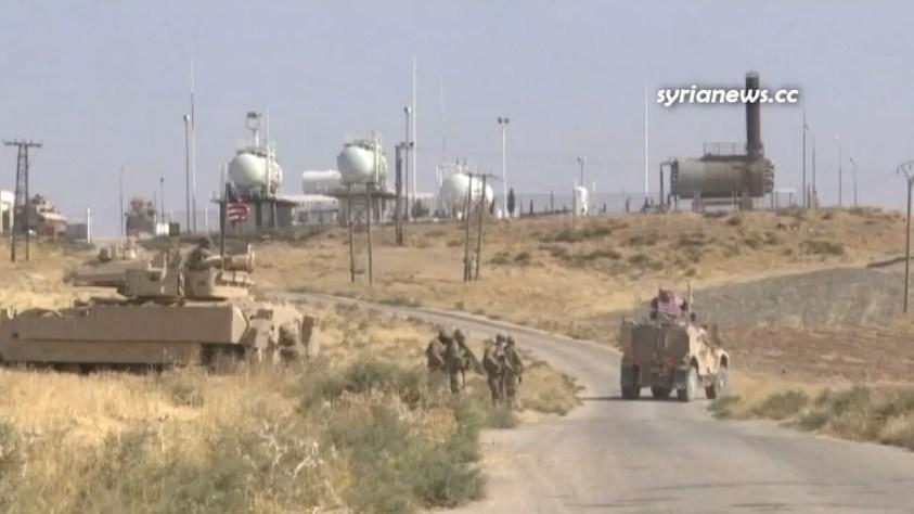 Biden US oil thieves in Al Omar oil field in Deir Ezzor Syria bombed again