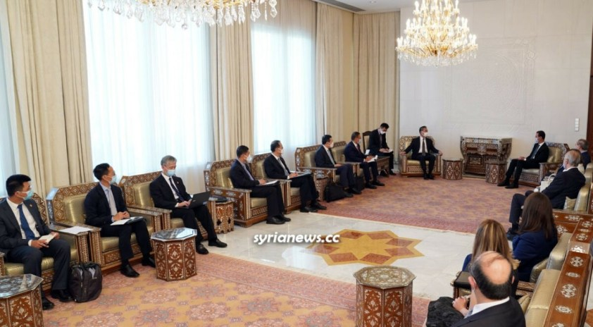 President Bashar Assad receives China Foreign Minister Wang Yi in Damascus