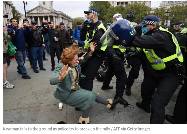 UNSCR member UK beats up senior protesters at home.