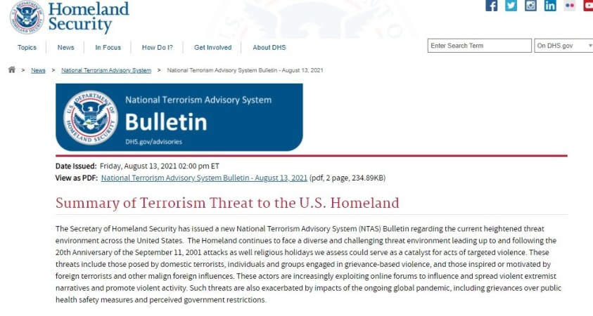 DHS issued strangely inclusive terror warning prior to the Taliban taking control of Kabul.