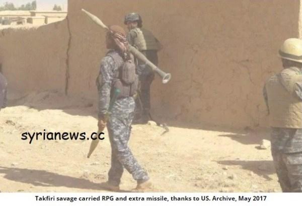 RPGs IEDs, landmine explosives used against Syria.