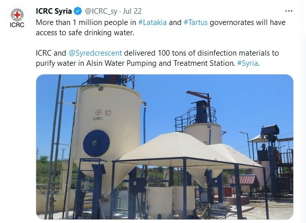ICRC brags about providing clean water in Tartous and Latakia.
