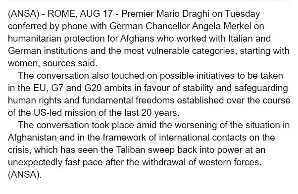 Italy worried about the Taliban