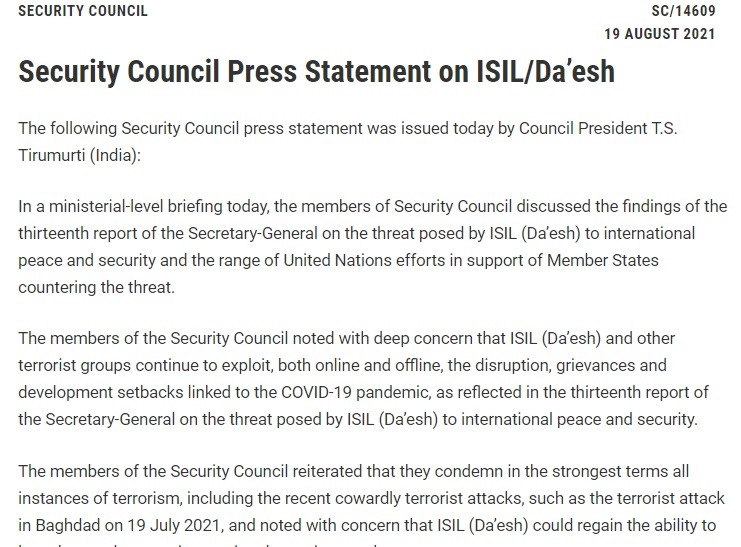 UNSC held a closed, ministerial-level briefing 19 August & subsequently issued a statement that sounded like plagiarism from DHS's 13 August warning.