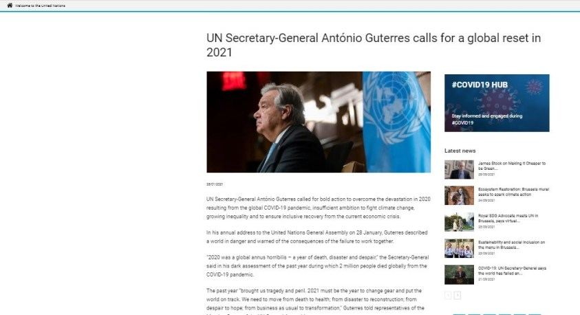 28 January 2021, Guterres called for a global reset, based on dictates of royalty, banksters, college dropouts, financier elite.