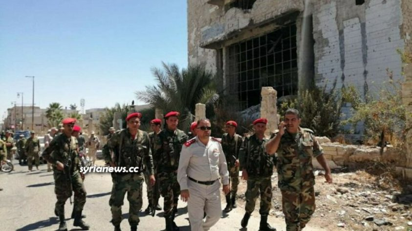 Syrian Arab Army units accompany Law enforcement units deployed in Daraa Balad