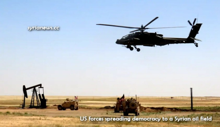 US army armored vehicles and helicopter democratizing Syrian oil field
