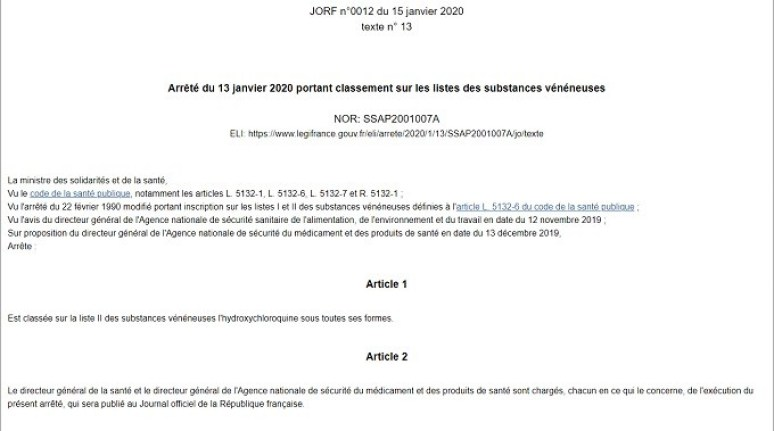 Agnès Buzyn abruptly declared hydroxychloroquine poisonous, 15 January 2020