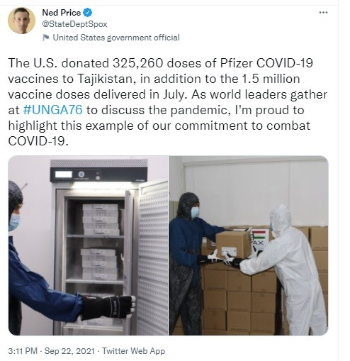 Guterres likely glad that US shipped Pfizer to Tajikistan...
