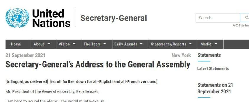 Guterres transcript of opening address to UNGA 76.