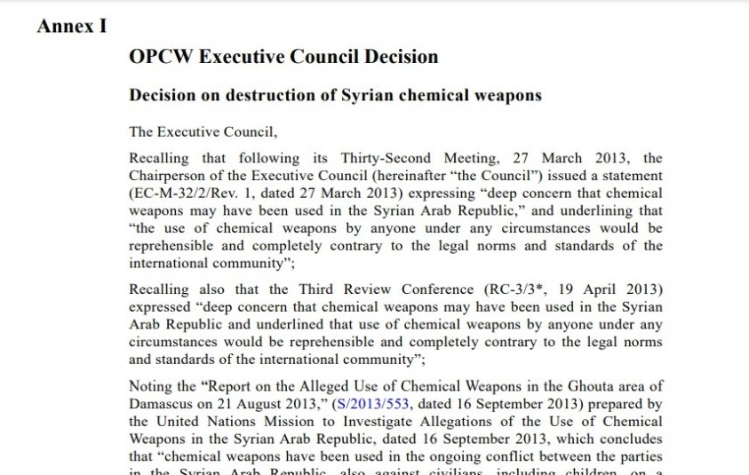 OPCW never investigated terrorist CW attack in Khan al Asal but has taken al Qaeda's word on subsequent false flag CW attacks.