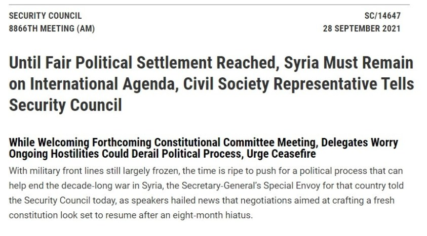 UNSC held its monthly anti-Syria meeting 28 September 2021.