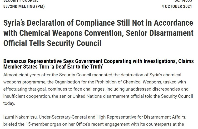 UNSC NATO junta chemical file meeting shows the klansmen continue to engage in repetition compulsion.