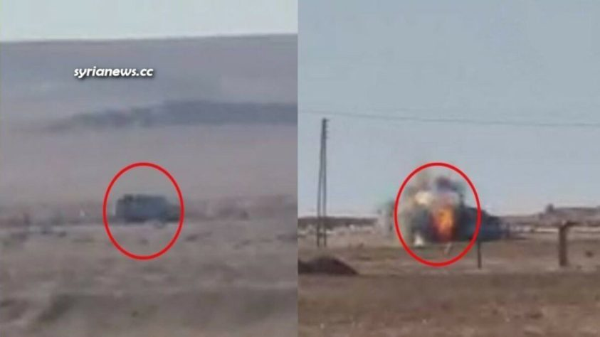 news update: Turkish sponsored Al Qaeda terrorists blow up a vehicle of the US sponsored Kurdish SDF terrorists in Raqqa countryside