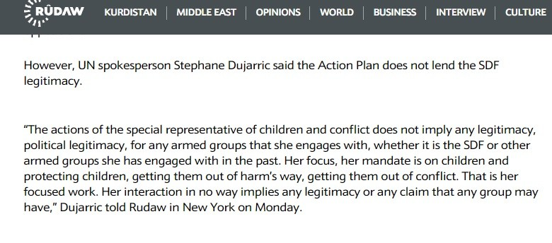 Dujarric caught fibbing about the SDF and the UN.