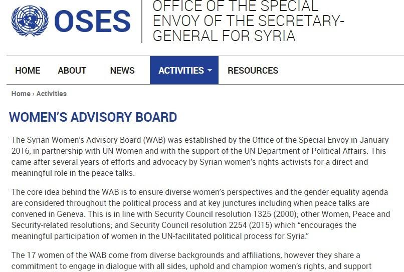 UNSC NATO Syrian Women Advisory Board