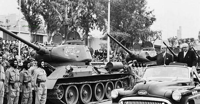 استعراض الجيش السوري -شكري القوتلي وخالد العظم 1957