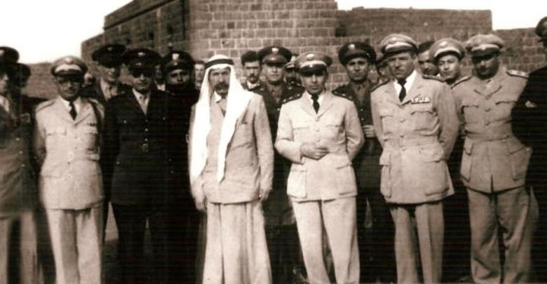 سلطان باشا الاطرش مع أديب الشيشكلي في السويداء 1950
