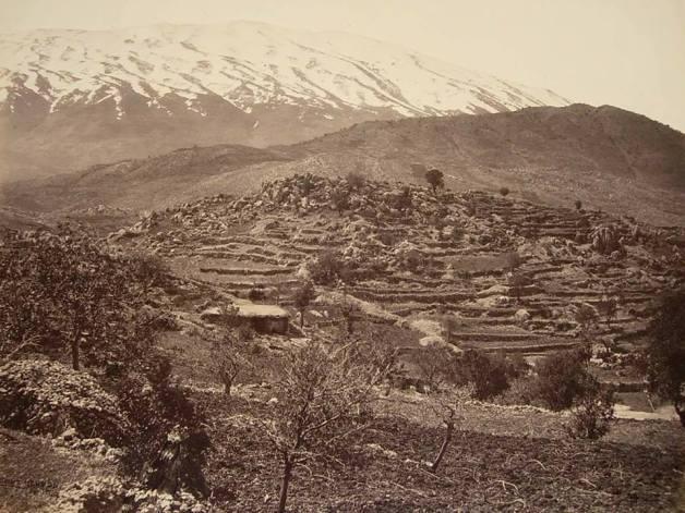 منظر عام لجبل الشيخ من قرية راشيا اللبنانية  1862