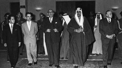 شكري القوتلي مع الملك سعود في بيروت 1956