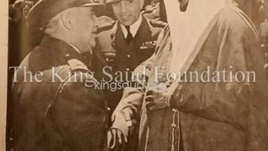 الأمير سعود في سورية مع فوزي سلو وأديب الشيشكلي 1953