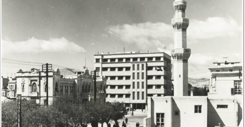دمشق - شارع النصر ومئذنة جامع التكية المولوية بالخمسينات..