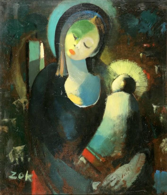العذراء.. لوحة للفنان أسعد زكاري