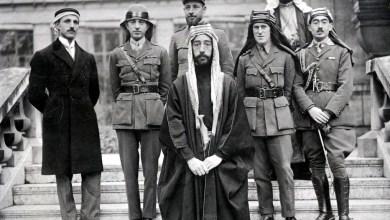 فيصل بن الحسين  ولورنس في باريس عام 1919