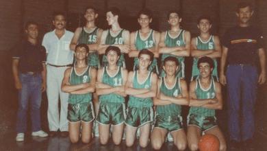 فريق الناشئين في نادي الوحدة لكرة السلة عام 1981