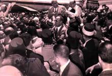 استقبال شكري القوتلي بعد خمس سنوات من المنفى في دمشق عام 1954
