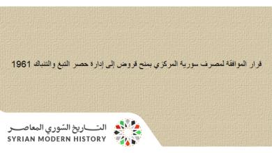 قانون منح مصرف سورية المركزي قروض إلى إدارة حصر التبغ والتنباك 1961