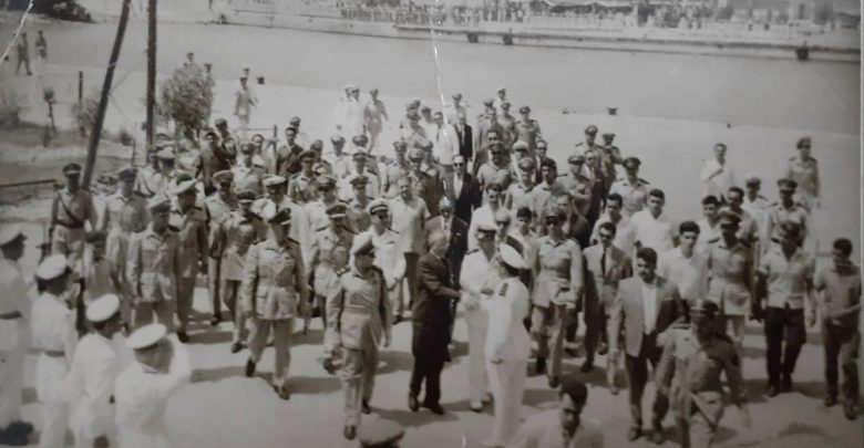 اللاذقية 1962 – الرئيس ناظم القدسي في زيارة للكلية البحرية (2)