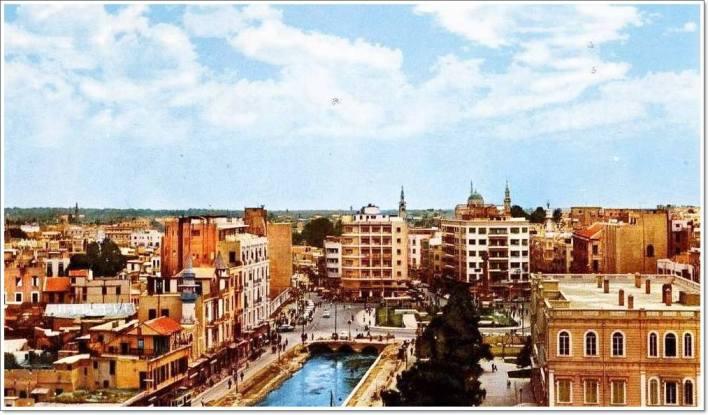 دمشق 1958- من جسر فكتوريا بإتجاه ساحة المرجة