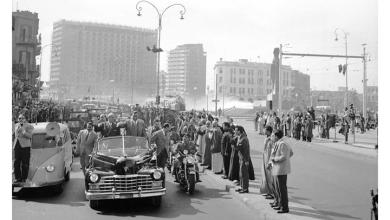 القاهرة 1958 - جمال عبد الناصر وشكري القوتليعند توقيع ميثاق الوحدة (5)