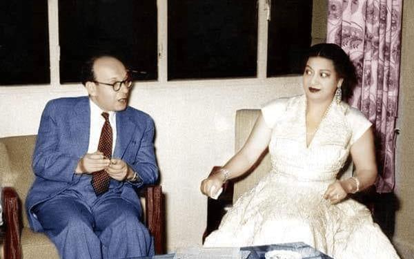 عبد الغني العطري وكوكب الشرق أم كلثوم في دمشق 1955