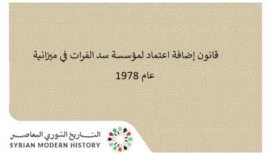 قانون إضافة اعتماد لمؤسسة سد الفرات في ميزانية عام 1977