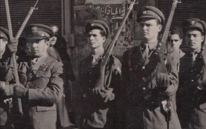 الرقيب موفق الخاني في أول احتفال بعيد الجلاء عام 1946