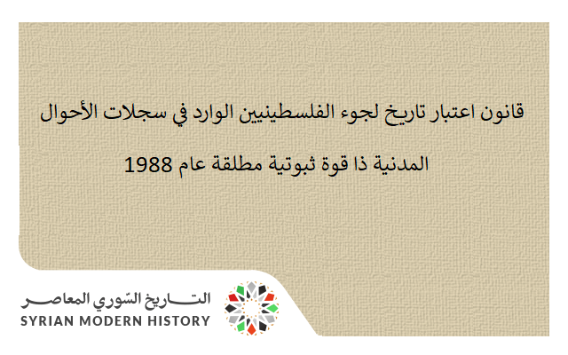 قانون اعتبار تاريخ لجوء الفلسطينيين الوارد في سجلات الأحوال المدنية ذا قوة ثبوتية مطلقة عام 1988