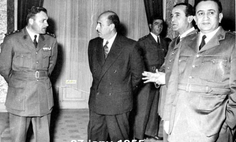 رشاد برمدا والزعماء شوكت شقير وتوفيق نظام الدين وعزيز عبد الكريم عام 1955